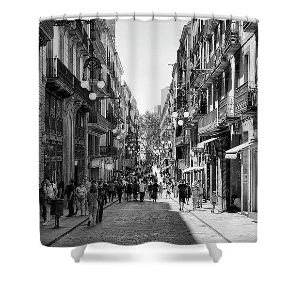 La Rambia Bw Streets  Shower Curtain