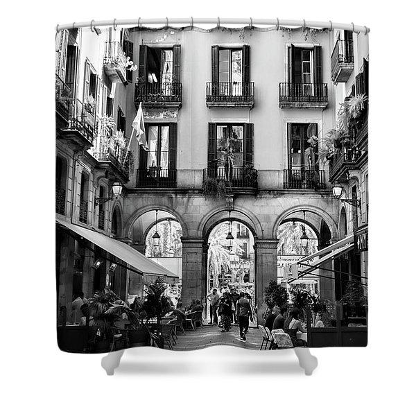 Gothic Quarter La Rambia Restaurant Spain Bw Barcelona  Shower Curtain