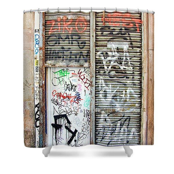 La Rambia Spain Graffiti I Shower Curtain