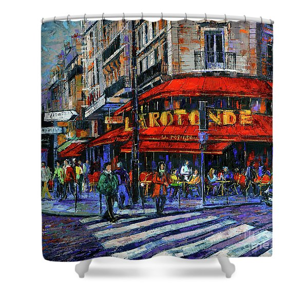 La Rotonde Paris Modern Impressionist Palette Knife Oil Painting Shower Curtain