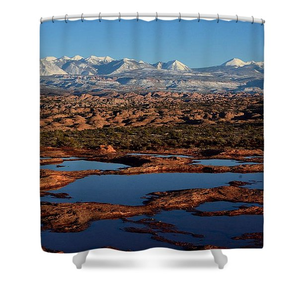 La Sal Mountains And Ephemeral Pools Shower Curtain