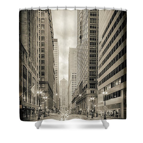 Lasalle Street Canyon With Chicago Board Of Trade Building At The South Side - Chicago Illinois Shower Curtain