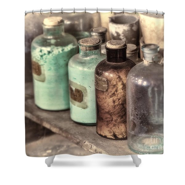 Lab Bottles Tinted Shower Curtain