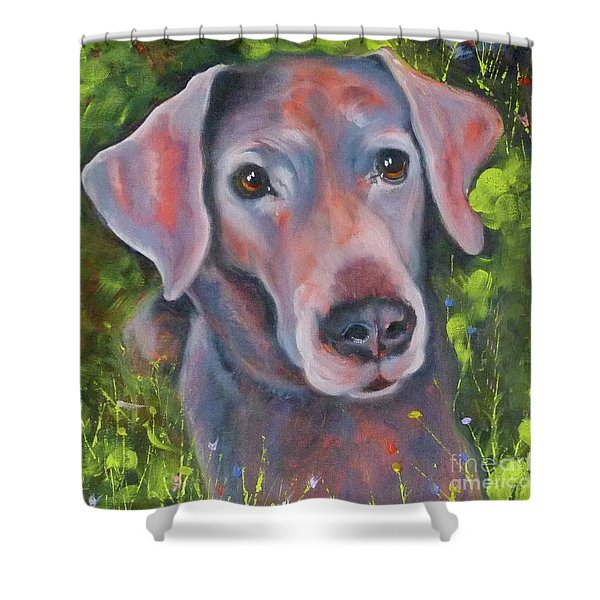 Lab In The Grass Shower Curtain