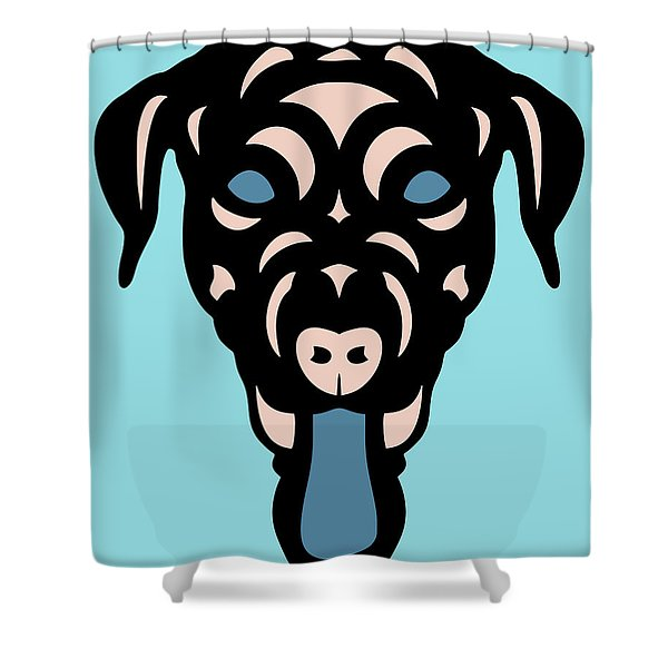 Labrador Dorianna - Dog Design - Island Paradise, Pale Dogwood,  Niagara Blue Shower Curtain