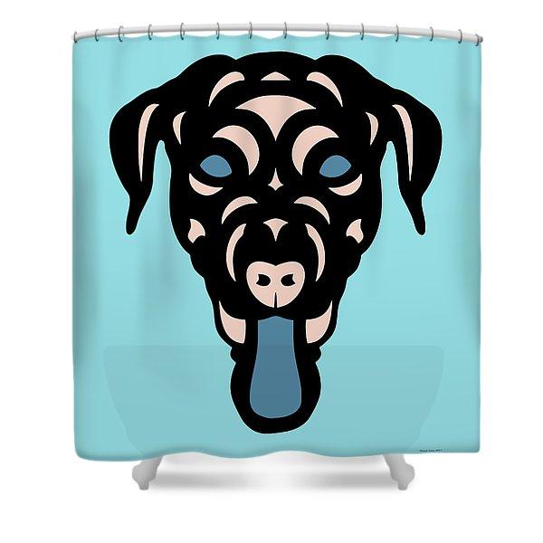 Labrador Dorianna - Dog Design - Island Paradise, Pale Dogwood,  Niagara Blue Shower Curtain