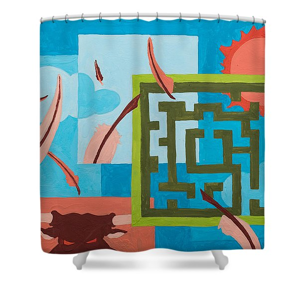 Shower Curtain featuring the painting Labyrinth Day by Break The Silhouette