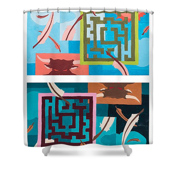 Shower Curtain featuring the painting Labyrinth Night And Day by Break The Silhouette