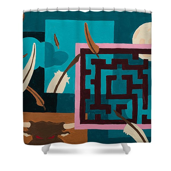 Shower Curtain featuring the painting Labyrinth Night by Break The Silhouette