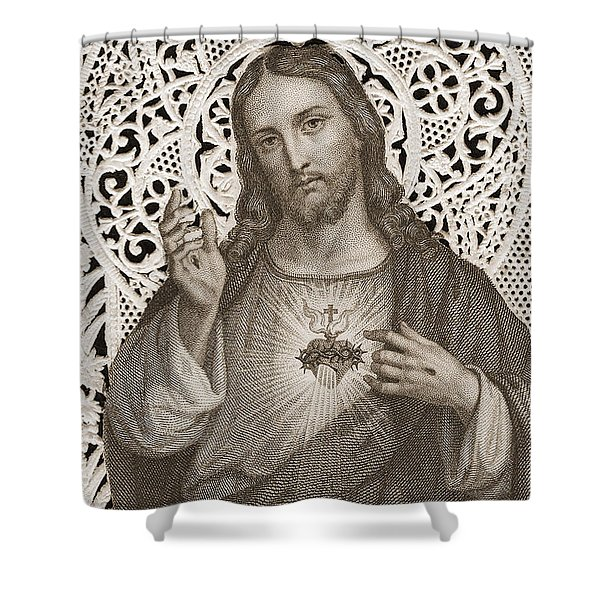 Lace Card Depicting The Sacred Heart Of Jesus Shower Curtain