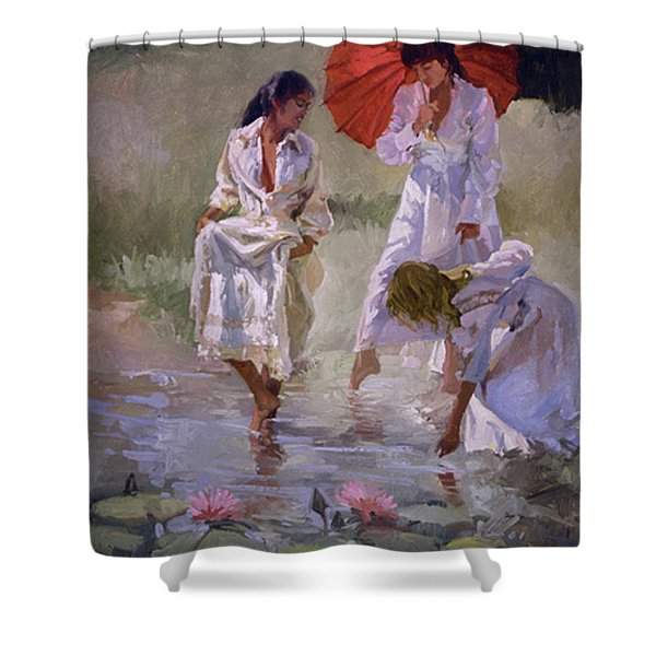Ladies And Lilies Shower Curtain