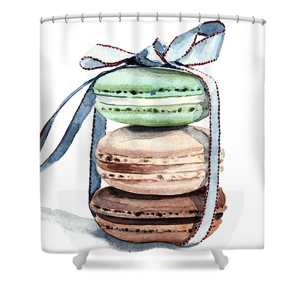 Laduree Macaron Stack Tied With A Bow Shower Curtain