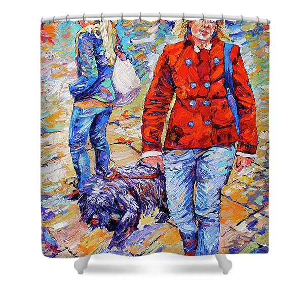 Lady  And Dog Shower Curtain