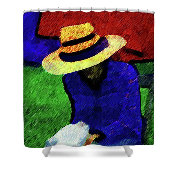 Lady And Puppy Painting Shower Curtain