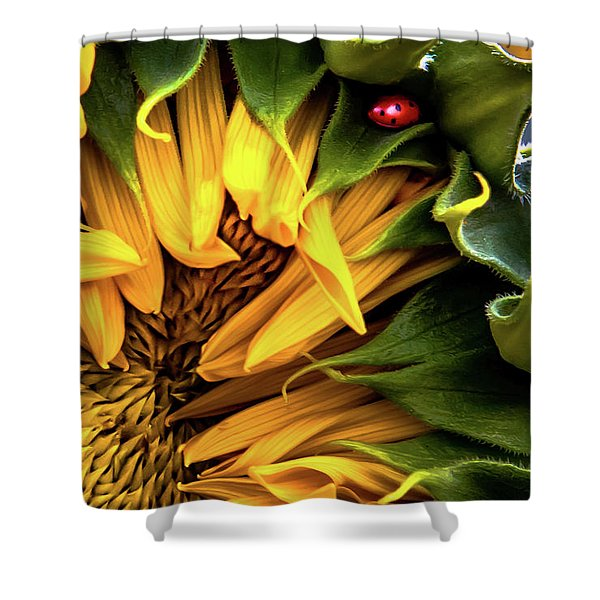 Lady And The Sunflower  Shower Curtain