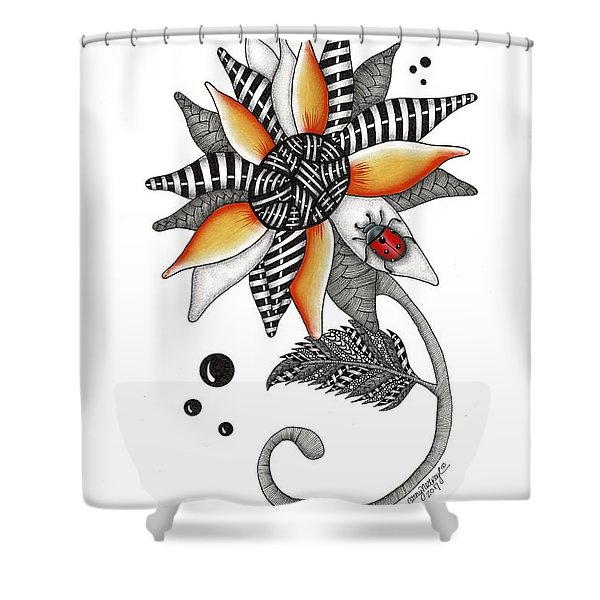 Lady Bug Sunflower Shower Curtain