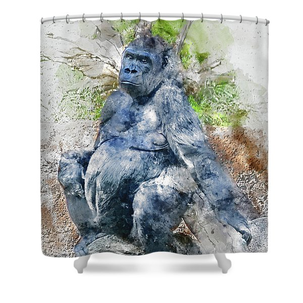 Lady Gorilla Sitting Deep In Thought Shower Curtain