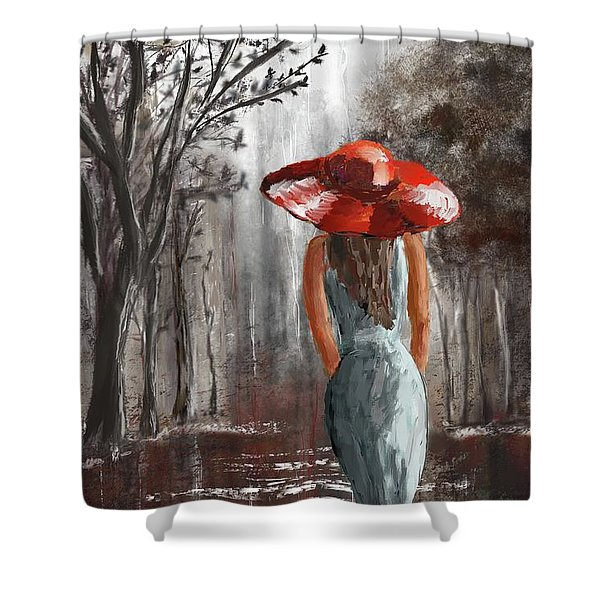Lady In A Red Hat Shower Curtain