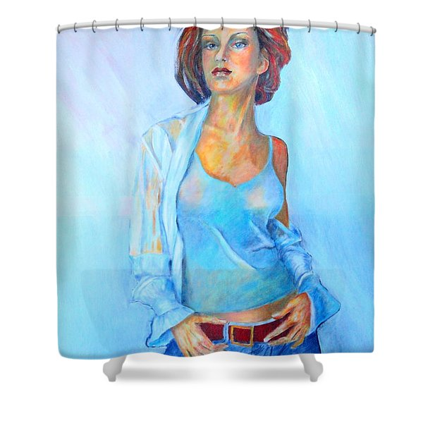 Lady In Blue II Shower Curtain