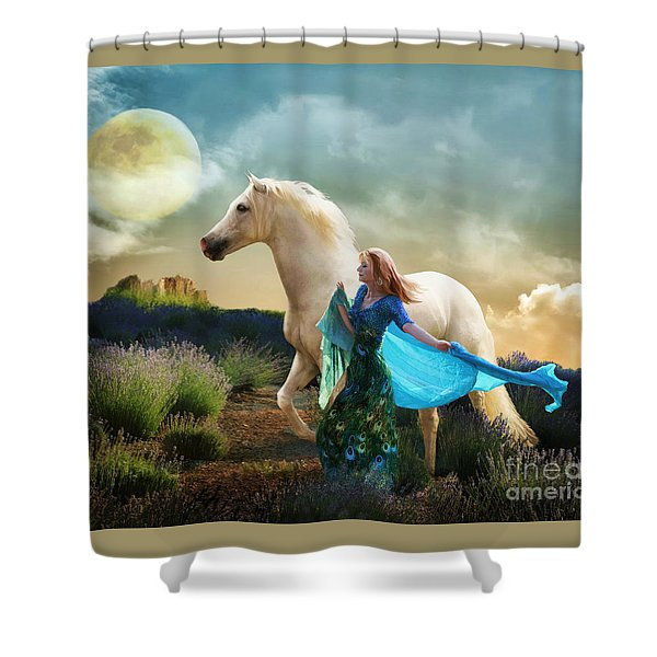 Shower Curtain featuring the digital art Lady In Blue by Melinda Hughes-Berland