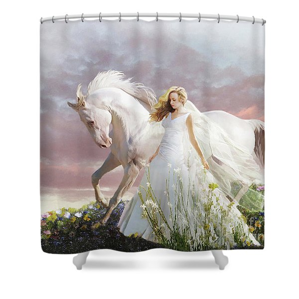 Shower Curtain featuring the digital art Lady In White by Melinda Hughes-Berland