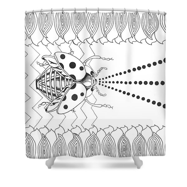 Lady Laser Bug Shower Curtain