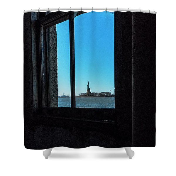 Shower Curtain featuring the photograph Lady Liberty by Tom Singleton