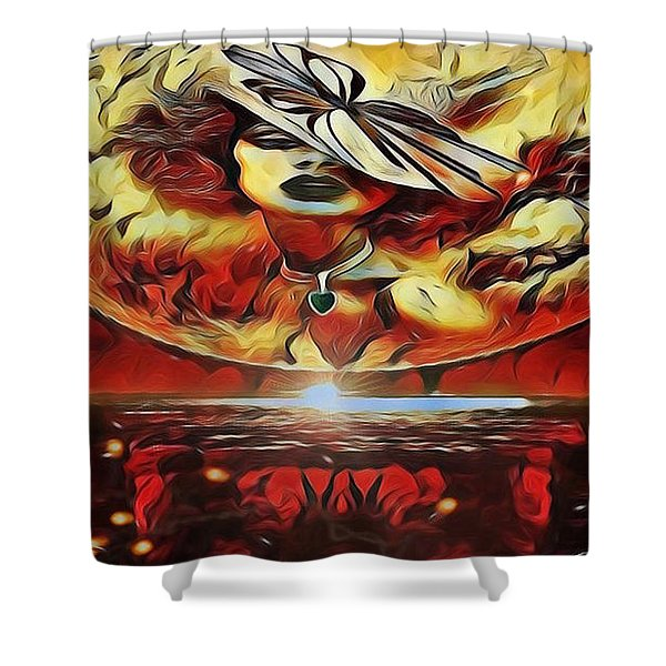 Lady Moon Light In Red Shower Curtain