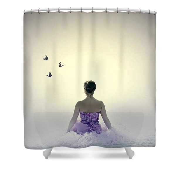 Lady On The Beach Shower Curtain by Joana Kruse