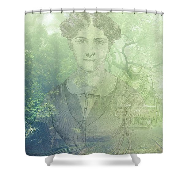 Lady On The Tracks Shower Curtain