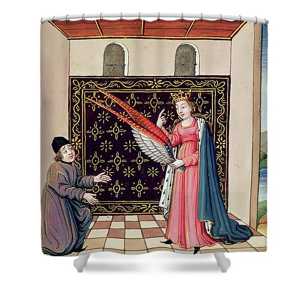 Lady Philosophy Offers To Boethius The Wings That Will Enable His Mind To Fly Aloft  Shower Curtain