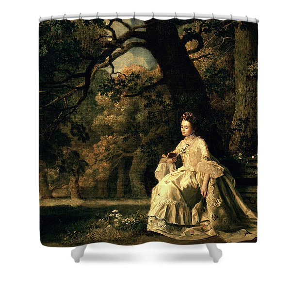Lady Reading In A Park Shower Curtain