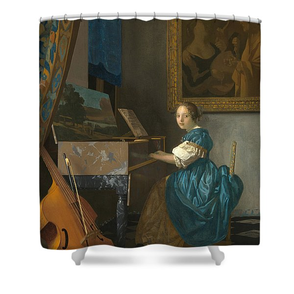 Lady Seated At A Virginal Shower Curtain