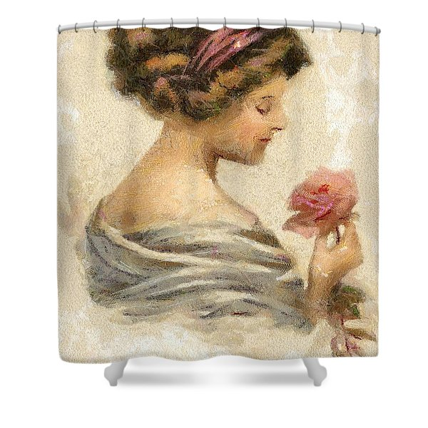 Lady With A Rose Shower Curtain