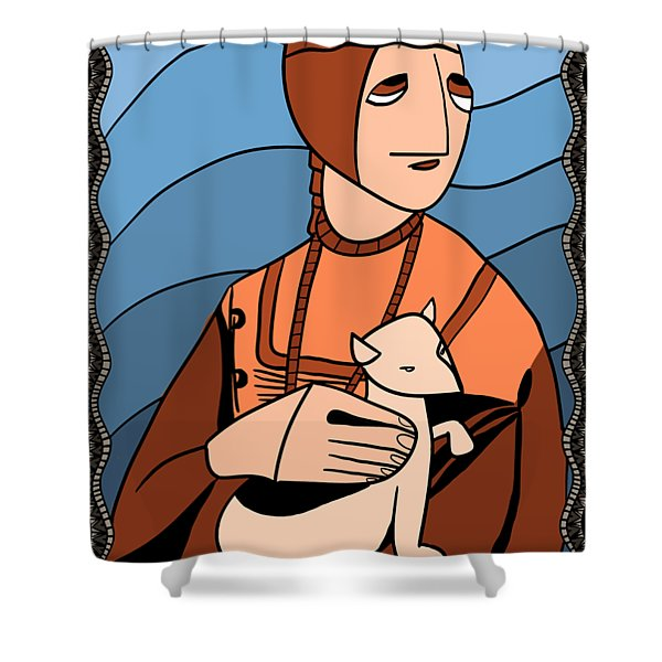 Lady With An Ermine By Piotr Shower Curtain