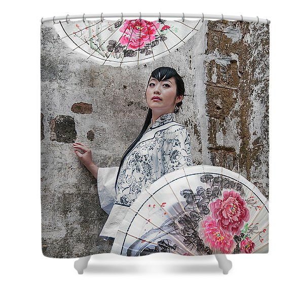 Lady With An Umbrella. Shower Curtain