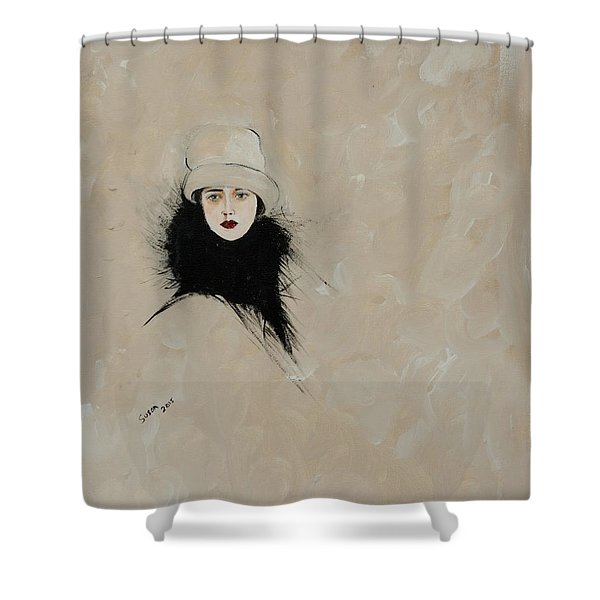 Lady With Black Fur Shower Curtain