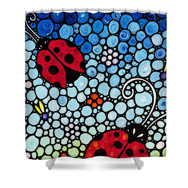 Ladybug Art - Joyous Ladies 2 - Sharon Cummings Shower Curtain