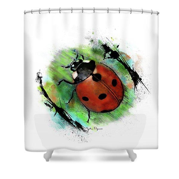 Ladybug Drawing Shower Curtain