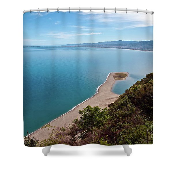 Shower Curtain featuring the photograph Lagoon Of Tindari On The Isle Of Sicily  by Silva Wischeropp