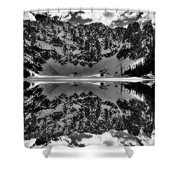Lake 22 Winter Black And White Reflection Shower Curtain