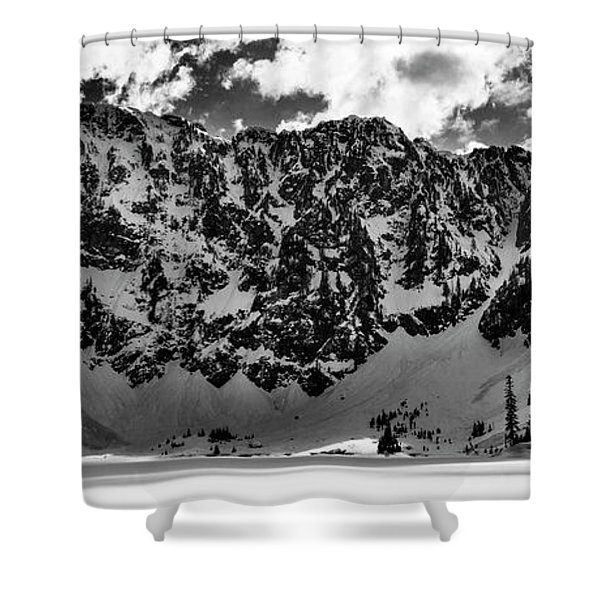 Lake 22 Winter Black And White Shower Curtain