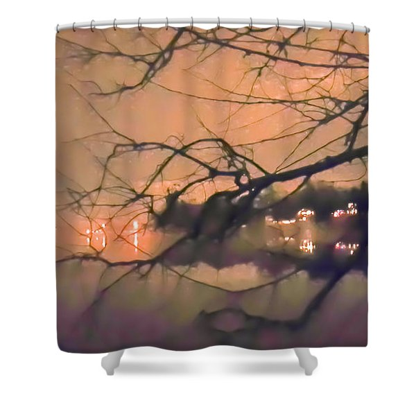 Foggy Lake At Night Through Branches Shower Curtain