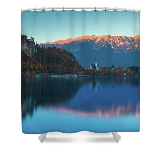 Lake Bled Panorama Shower Curtain