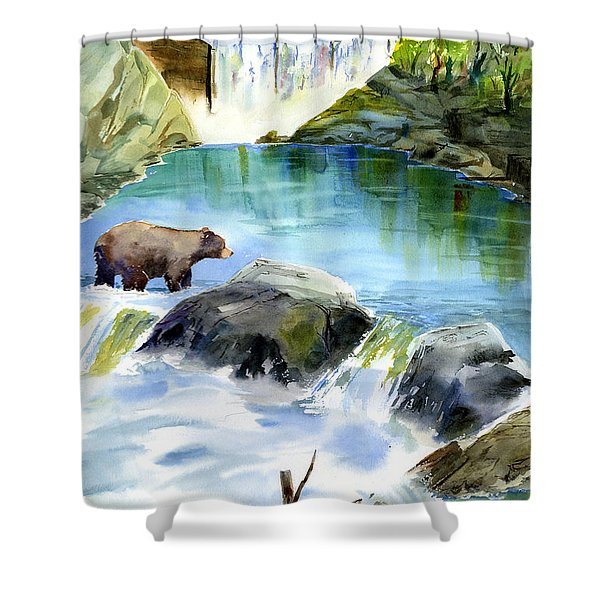 Lake Clementine Falls Bear Shower Curtain