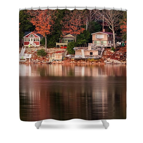 Shower Curtain featuring the photograph Lake Cottages Reflections by Tom Singleton