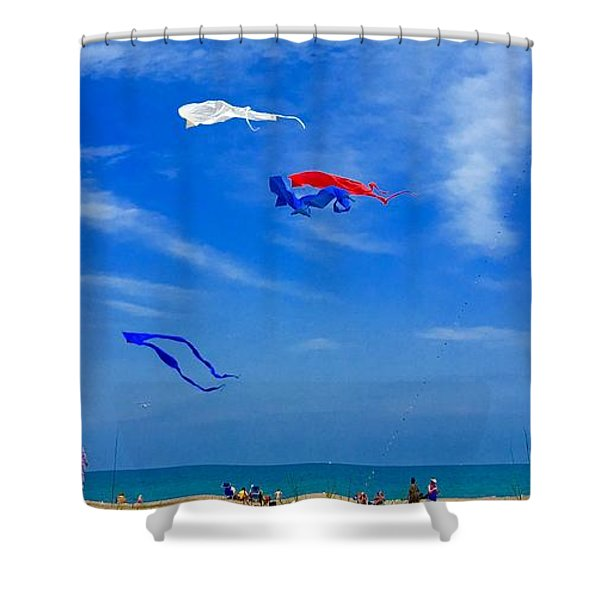 Lake Erie Kite Flying Shower Curtain