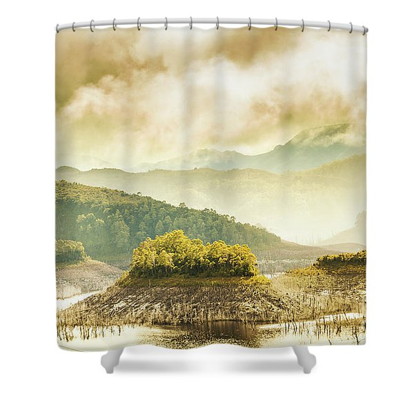 Lake Gordon Landscape Shower Curtain