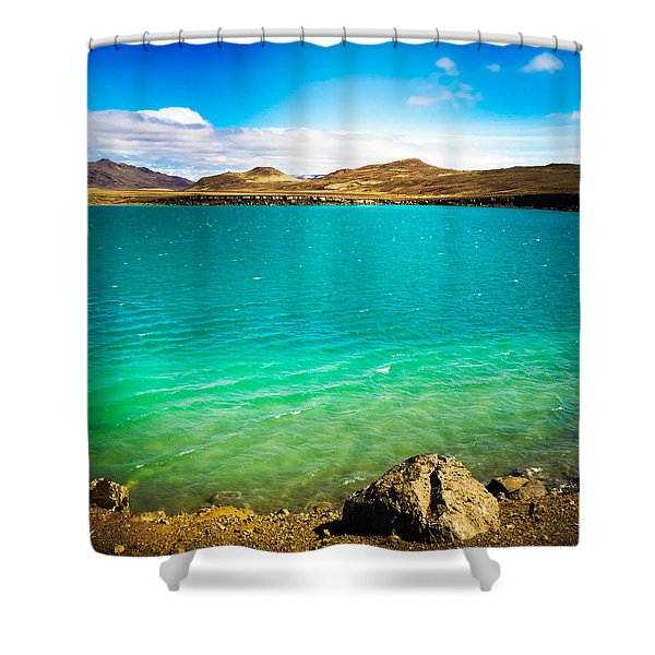 Lake Graenavatn In Iceland Green And Blue Colors Shower Curtain