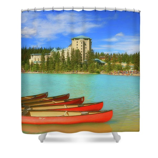 Red Canoes - Lake Louise Alberta Canada Shower Curtain